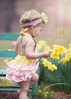 Yellow and Pink Paisley Romper Ruffled Bubble by JellyLouCreations