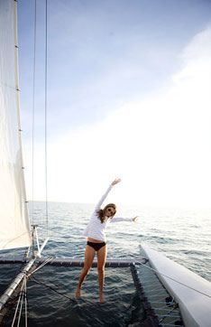 I want to sail my own catamaran....first things first....take sailing lessons
