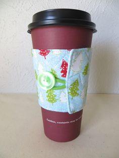 Fabric Coffee Cozy Winter Trees Design by ThreadBasket on Etsy