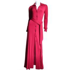1970's Halston Shirt Waist Maxi Dress   1stdibs.com