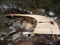 A 75 foot bridge on the 5 km machine built jump trail in Burns Lake, BC