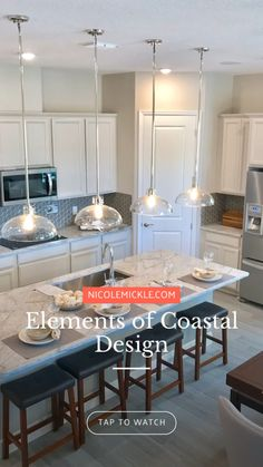 New Homes plus coastal design. Neutral tones and natural textures complete this open concept white kitchen. Kitchen Design Open, Luxury Kitchen Design, Open Concept Kitchen, Luxury Kitchens, Interior Design Kitchen, Open Kitchens, Kitchen Island Decor, Home Decor Kitchen, Kitchen Living