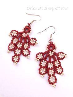 oya crochet earrings Tatting Earrings, Tatting Jewelry, Tatting Lace, Ring Earrings, Crochet Earrings, Ring Tutorial, Needle Lace, Some Ideas, Bead Crochet