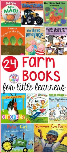 Farm Books for Little Learners April 10 is National Farm Animal day! Giant list of farm books for preschool, pre-k, and kindergarten. This book list if packed with farm books perfect for circle time. Preschool Farm, Farm Kids, Farm Activities, Preschool Books, Preschool Activities, Reading Lists, Book Lists, Best Toddler Books, Kindergarten