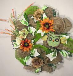 wreath, owl wreath, spring wreath, custom wreath, deco mesh wreath by Pattycakespapers on Etsy