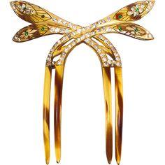 1910s Best Hold Art Nouveau Paste & Celluloid Faux Tortoiseshell Hair Comb