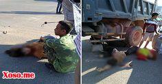 Đi xe máy không mũ bảo hiểm tông xe tải, 3 người nhập viện