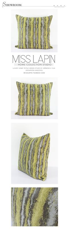MISS LAPIN简约现代/沙发/高档抱枕/黄色雪尼尔三色提花条纹方枕-淘宝网