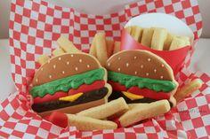 18 Burger and fry cookies, handmade & iced