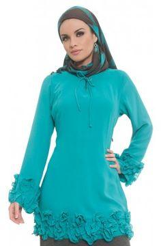 Saida Gathered Ruffle Tunic - Tunic Tops - Islamic Clothing At Artizara.com