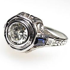 VINTAGE ENGAGEMENT RING TRANSITIONAL CUT DIAMOND & LAB BLUE SAPPHIRES SOLID 18K WHITE GOLD, $1,999