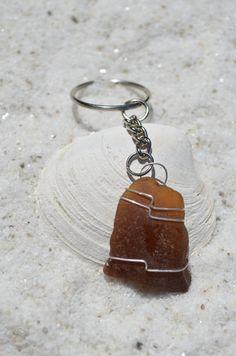 Amber Brown Sea Glass Wire Wrapped Keychain by DejaVuDesignz
