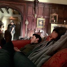Davis basically just creeped around the set and took pictures of his napping costars.