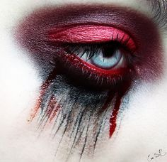 red and black tear makeup for girls