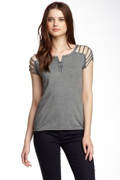 Strappy Shoulder Henley
