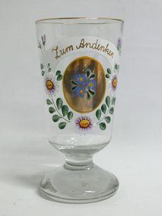 Andenkenglas / Fußbecher Handbemalt mit Blumen und Goldrand Höhe: 15 cm unbeschädigt ohne Abrieb $40.00