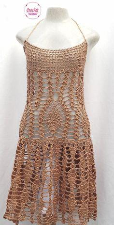 """Lindo vestido castanho em crochê, fica super na moda <br>Sob encomenda todas as cores e tamanhos <br>EXCLUSIVIDADE MIMOS DE SILVINHA <br> """"Esse preço é para tamanhos P M G <br>Tamanho GG ou 46 tem 15% de acréscimo <br> <br>Faça seu pedido e forneça suas medidas!!!"""