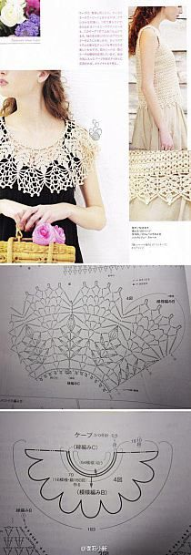 Ideas for crochet lace pattern free website Poncho Crochet, Col Crochet, Crochet Lace Collar, Crochet Diagram, Crochet Blouse, Thread Crochet, Crochet Scarves, Irish Crochet, Crochet Motif