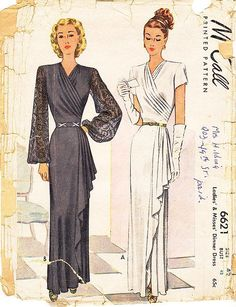Vintage 1940s Dress Sewing Pattern - McCall 6621 - Misses' Dinner or Evening Dress - Sz 42/Bust 42""