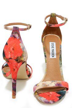 Steve Madden Stecy Floral Coral Ankle Strap Heels at Lulus.com!