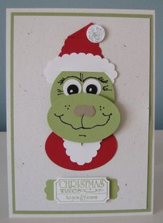 Stampin Up Punch Art 'The Grinch'