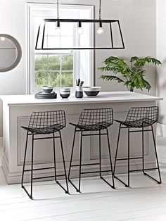 Black Iron Counter Stool - Modern Dining Room Furniture - Furniture by Type - Modern Home Furniture Wire Bar Stools, Painted Bar Stools, Black Bar Stools, Modern Bar Stools, Kitchen Stools, Unique Bar Stools, Tall Stools, Metal Counter Stools, Black Stool
