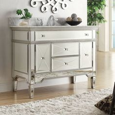 "Austin 44"" Traditional Single Sink Mirrored Vanity"