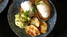 Poached eggs, smashed avocado + fetta, grilled haloumi