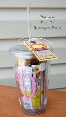"Cute gift idea: ""Fill a plastic monogrammed cup with an assortment of drink packets.. (this is a perfect gift for me!) You could even fill a coffee cup with a bag of fresh ground coffee or with those little flavored creamers...or a Tea cup with tea bags...etc"""