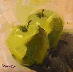 cathleen rehfeld • Daily Painting: 2 Green Apples
