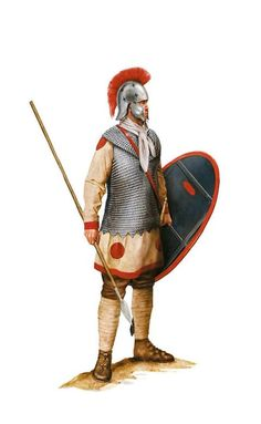 Heavy equipped Roman soldier of the Auxilia Palatina unit, a mid 4th century AD. Artwork by Tom Croft.