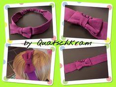 Haarband mit Schleife genäht von Quatschkram, nach meinem kostenlosen Schnittmuster: http://www.kreativlaborberlin.de/naehanleitungen-schnittmuster/haarband-mit-schleife-in-5-groessen-baby-erwachsene/