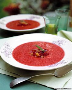 Plum, Raspberry, and Tarragon Soup    Chilled fruit soup -- a combination of sweet plums, fresh raspberries, tarragon, white wine, and triple sec -- is a perfect foil to warm weather.