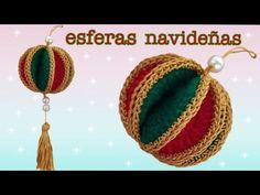 Esferas Navideñas hechas con lana fáciles y rápido de hacer - YouTube Crochet Christmas Trees, Crochet Ornaments, Christmas Baubles, Holiday Ornaments, Crochet Home Decor, Crochet Crafts, Hand Art Kids, Knitting Patterns, Crochet Patterns