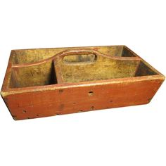 Granny's Early Old Antique Canted Wooden Primitive Tote - Old Red Paint, Square Nails