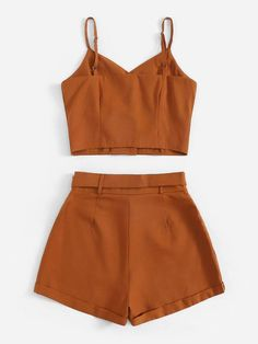 Button Front Cami Top With Belted Shorts Shorts Outfits Women, Casual Skirt Outfits, Short Outfits, Pretty Outfits, Summer Outfits, Cute Outfits, Two Piece Outfits Shorts, Girls Fashion Clothes, Teen Fashion Outfits