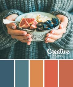 Two of our favorite things: beautiful and delicious. Inspired by this color palette from Try starting with Sherwin-Williams Loyal Blue SW Serape SW and Rejuvenate SW Orange Color Palettes, Fall Color Palette, Colour Pallette, Color Palate, Colour Schemes, Color Combos, Vintage Color Palettes, Palette Design, Make It Easy