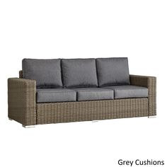Barbados Wicker Outdoor Cushioned Brown Mocha Sofa With Square Arm INSPIRE  Q Oasis (Grey Cushion