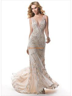 Maggie Sottero Kolumne Lange Schlichte Brautkleider aus Softnetz mit Applikation