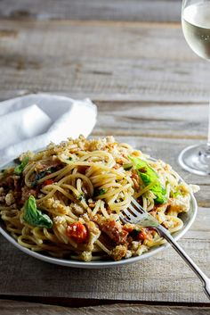 Pasta with Roasted Tomatoes with bacon and oregano breadcrumbs