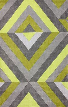 Rugs USA Keno ACR170 Chartreuse Rug Modern, home decor, stripes, interior design, bold.