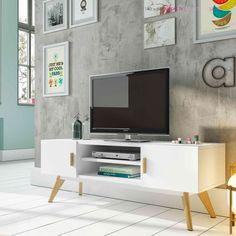 mueble de televisión lacado en blanco con dos puertas y baldas para los aparatos eléctricos