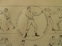 old pictures of box boxing - 1905 - antique french sports print poster about boxing  1905 23x31cm/9x12''
