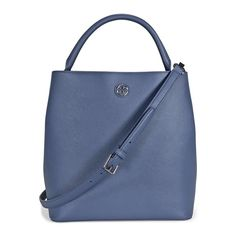 """Tory Burch Robinson Bucket Tote in Comet Blue Tory Burch Saffiano Leather bucket tote, Crossbody strap 20"""" drop, signature double """"T"""" medallion at top center, open top with zip compartment, inside: fabric lining; one snap pocket, one zip pocket, 11.4"""" H x 12"""" W x 6"""" D Tory Burch Bags Crossbody Bags"""