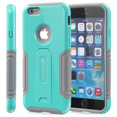 """Fosmon HYBO-VIEW Detachable Hybrid Dual Layer (PC + Silicone) Kickstand Case for Apple iPhone 6 (4.7"""")  - Assorted Colors"""