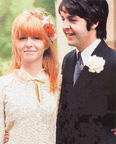 Jane Asher & Paul McCartney at Mike McCartney's wedding in 1968.