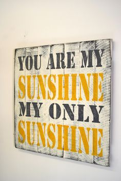 You Are My Sunshine Pallet Sign Nursery Decor Childrens Bedroom Sign Bathroom Sign Shabby Chic Decor Distressed Wood Handmade Gray Yellow by RusticlyInspired on Etsy https://www.etsy.com/listing/181097186/you-are-my-sunshine-pallet-sign-nursery