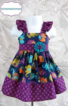 Elephant dress, Peasant dress, Spring dress, girls dress, toddler dressâ?¦