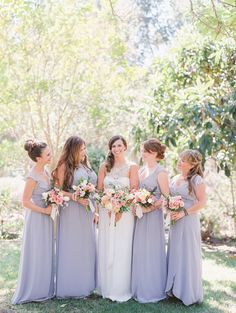 Pretty lavender hued bridesmaid dresses: http://www.stylemepretty.com/california-weddings/geyserville-california/2016/01/17/french-inspired-wine-country-wedding-at-geyserville-inn/ | Photography: Lori Photo - http://loriphoto.com/