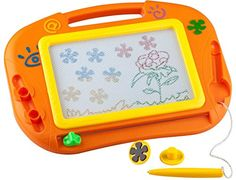 Buyus Mini  Travel Size Erasable Imaginarium Color Magnetic Drawing Board Magna Doodle for Kids Toddlers Babies with 2 Stamps and 1 Pen Orange  Yellow  Green -- Visit the image link more details. Note:It is affiliate link to Amazon.